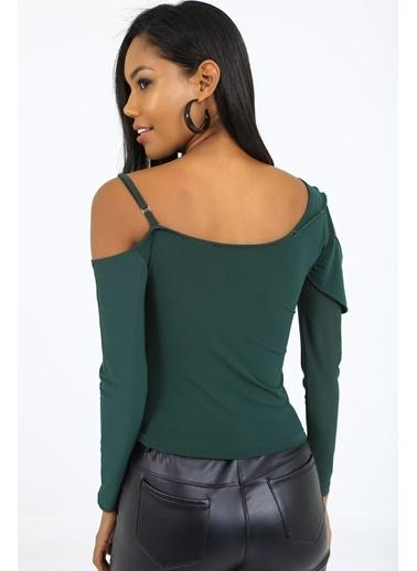 Emjey Özel Tasarım Askılı Kol Detaylı Bluz Yeşil